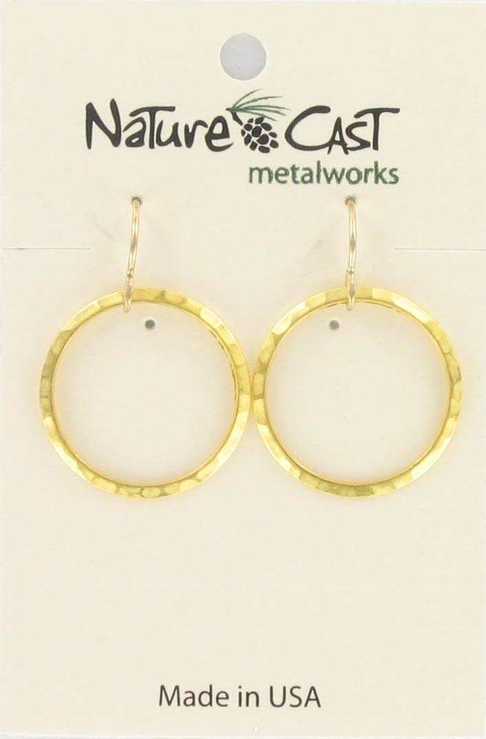 Small Gold Hammered Circle Earrings