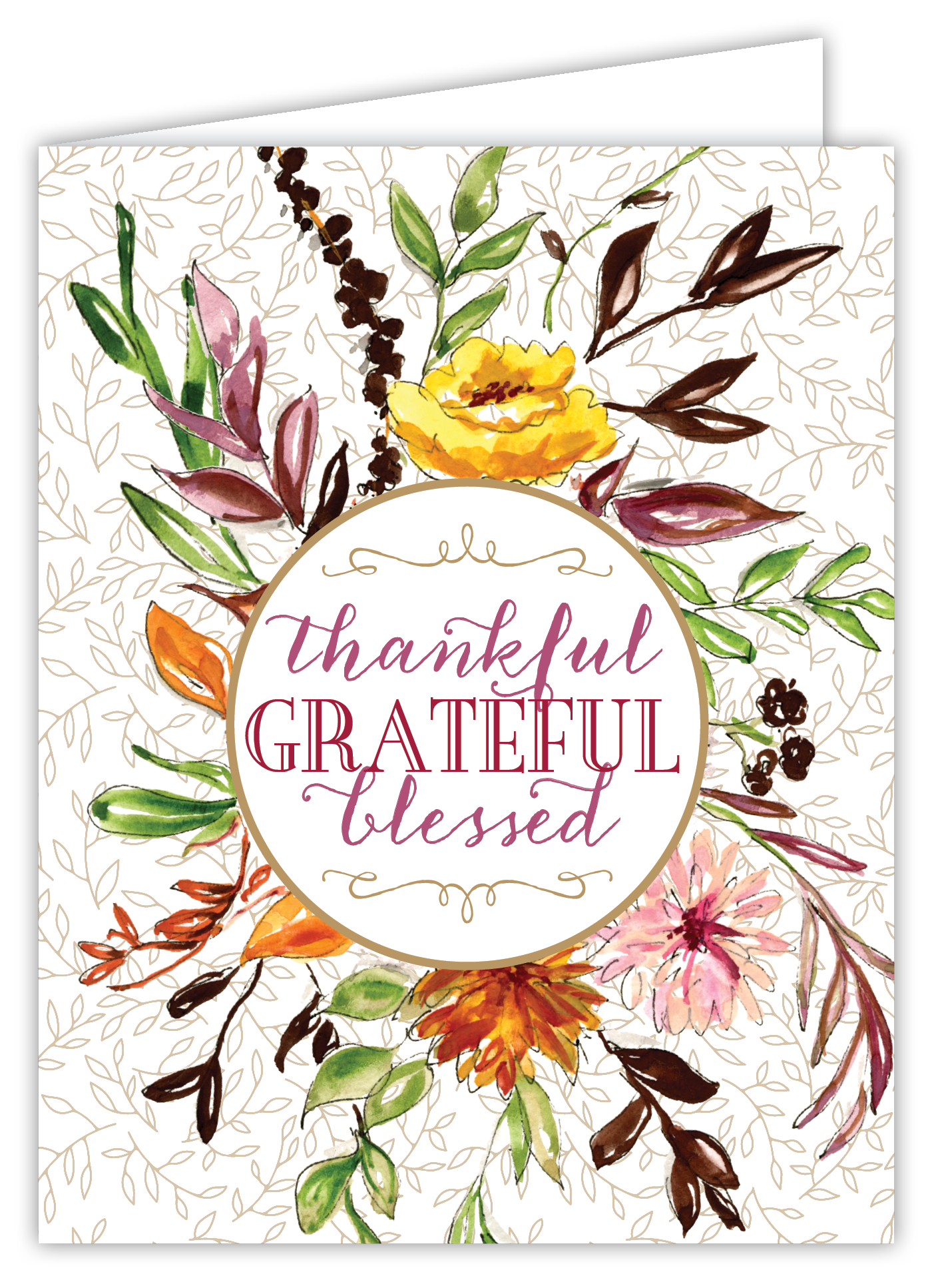 Thankful Grateful Blessed Flora Card