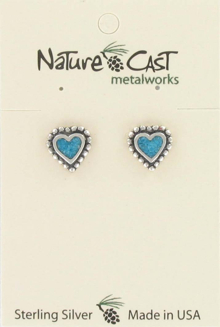 Sterling Silver Heart Inlay Earrings