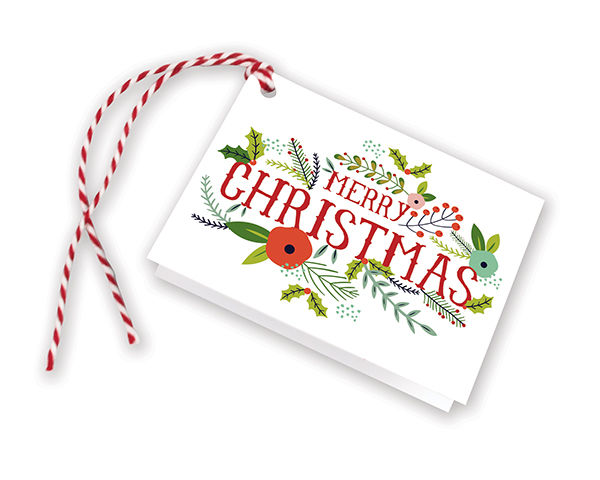 Christmas Flowers Gift Tags