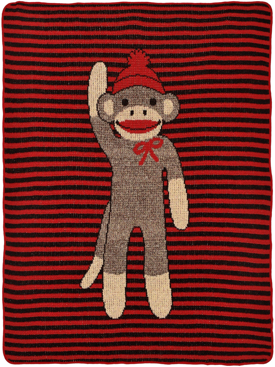 Child / Junior Blanket - Striped Sock Monkey