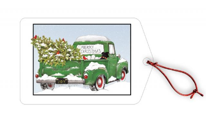 Green Truck Holiday Gift Tags