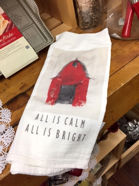 Holiday Towel-Red Barn - All is Calm