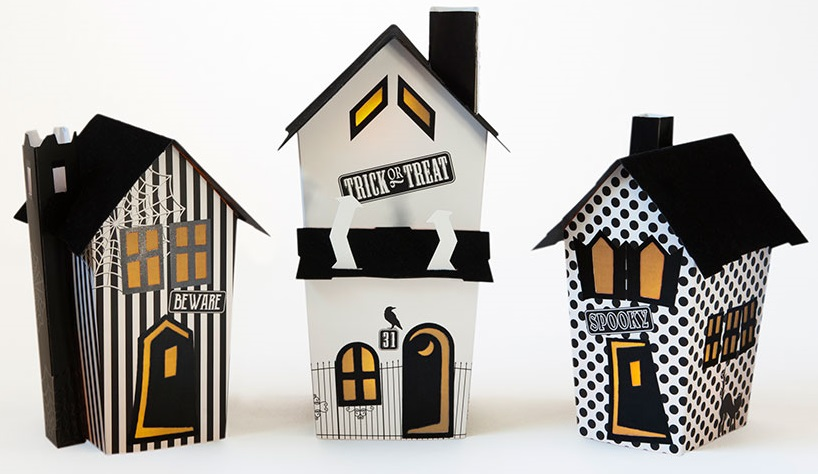 Black & White Halloween Pop Up Houses