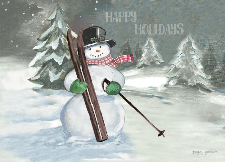 Happy Holidays Skiing Snowman Boxed Cards