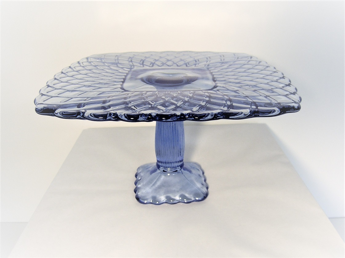 Ice Blue Glass Trellis Cake Plate - 10