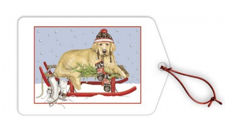 Lab on Sled Holiday Gift Tags
