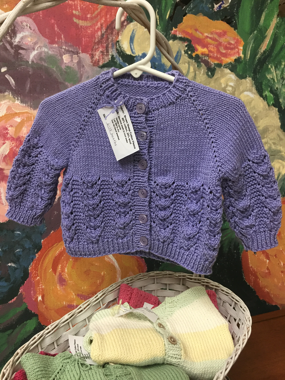 Lavender Cable Cardigan Sweater