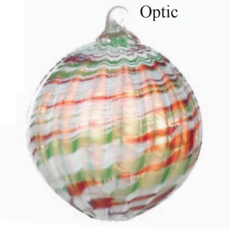 Red, Green White Optic Glass Ball