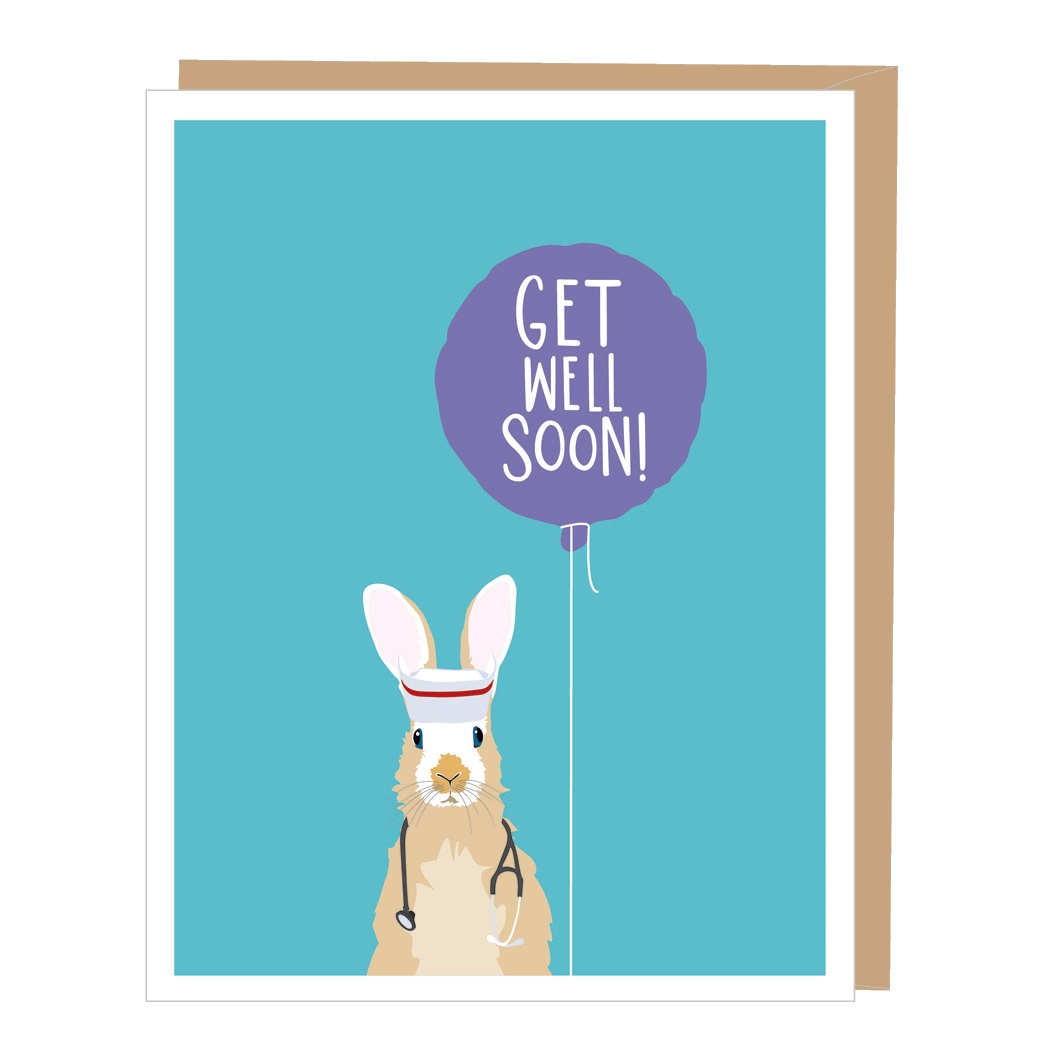 Rabbit Nurse Get Well Card