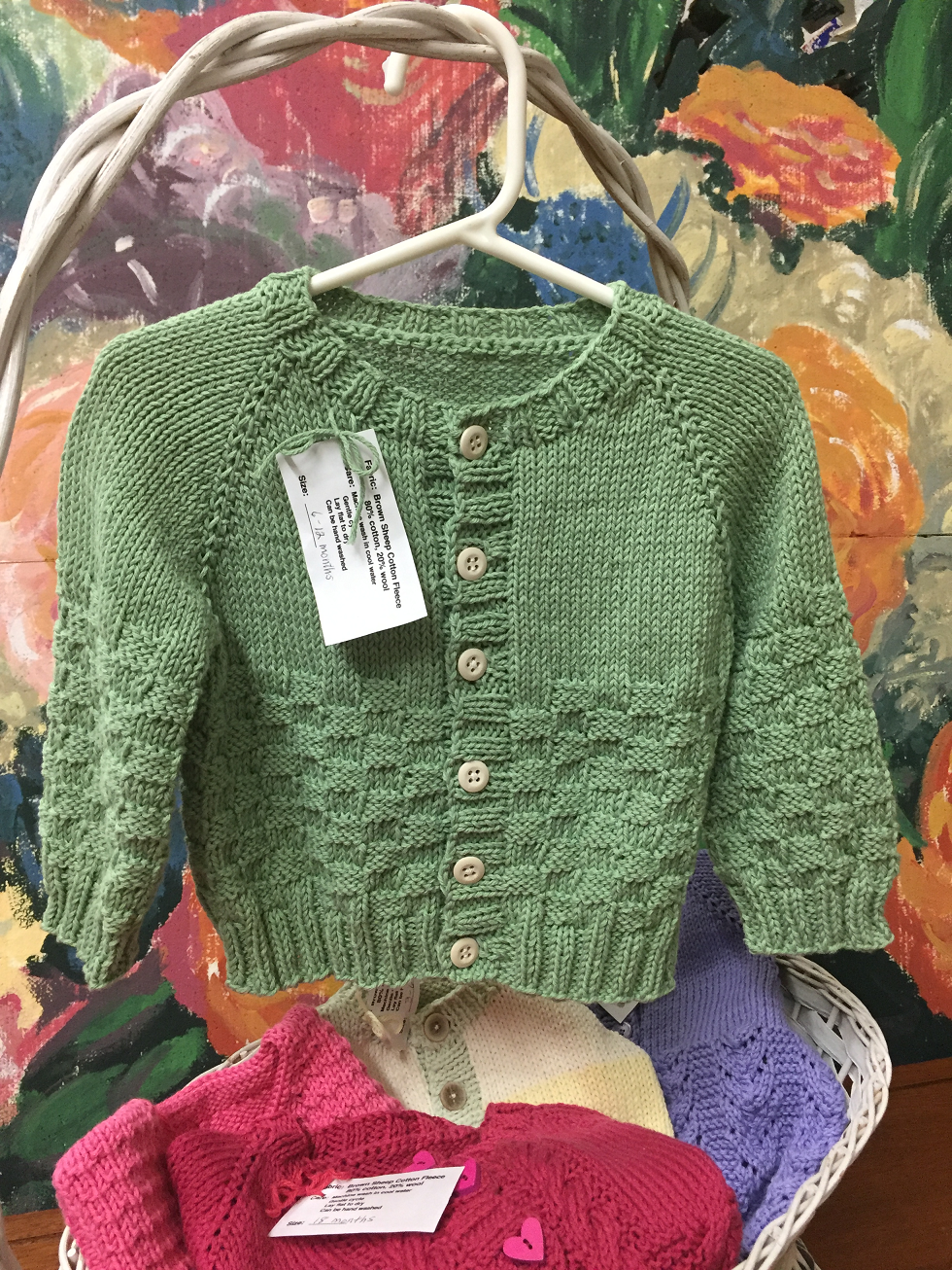 Fern Green Basketweave Cardigan