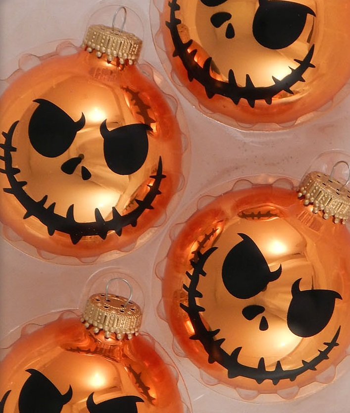 Scary Pumpkin Face Glass Ornament