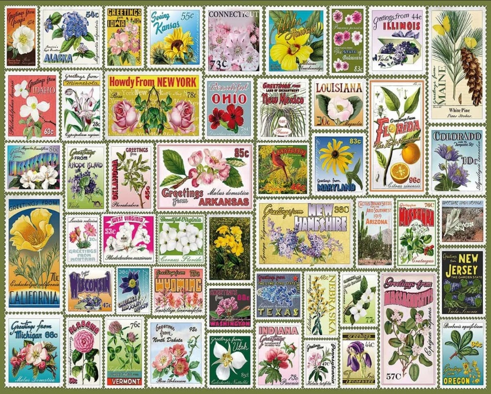 State Flower Stamps 1000  Pc. Jigsaw Puzzle