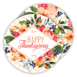 Happy Thanksgiving Fall Bouquet Coaster Set