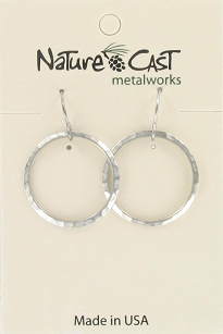 Small Silver Hammered Circle Earrings