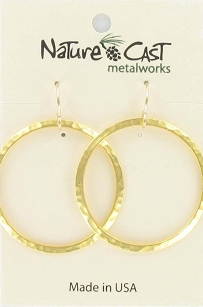 Large Gold Hammered Circle Earrings