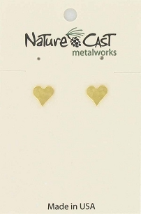 Hammered Gold Tone Heart Earrings