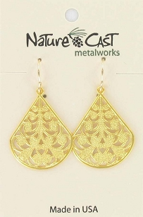 Gold-tone Teardrop Filagree Earrings