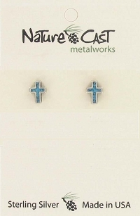 Sterling Silver Turquoise Cross Earrings