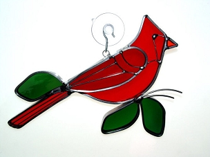 Stained Glass Ornament - Large Cardinal