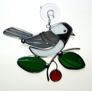 Stained Glass Ornament-Chickadee