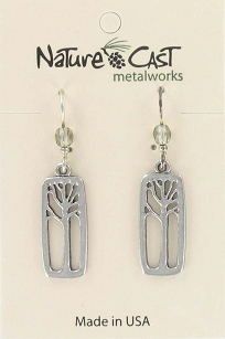 Dangle Tree in Rectangle Earrings