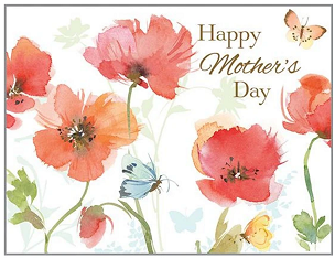RED POPPIES & BUTTERFLY