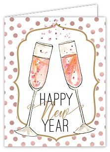 Happy New Year Champagne Flutes Card