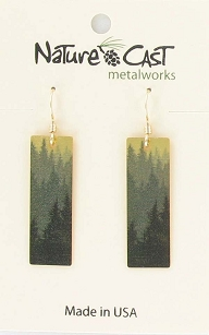 Layered Tree on Gold Rectangle Dangle Earrings