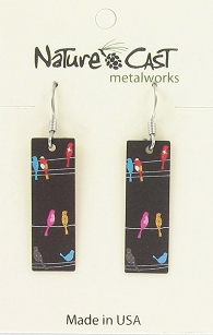 Birds on Wire Dangle Earrings