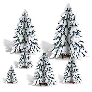 3-D Winter Pine Tree Centerpieces