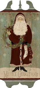 Santa Wreath Folk Art Tavern Sign