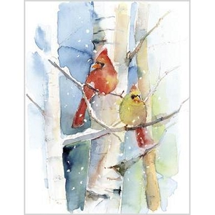 Cardinal Pair Watercolor Boxed Notes