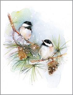 Chickadees on Pine Boxed Cards