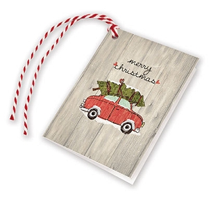 Tree On Red Car Gift Tags