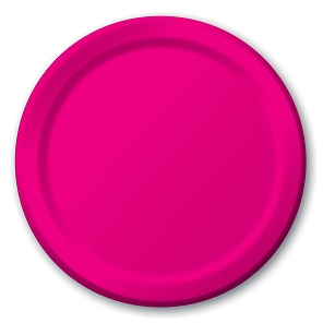 Hot Magenta Round Lunch Paper Plate