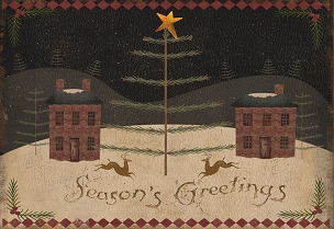 Colonial Christmas Folk Art Wood Sign