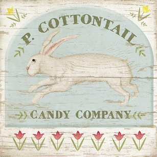 Cottontail Candy Folk Art Wood Sign