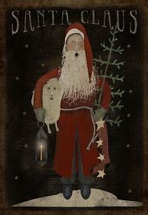 Santa With Lantern Folk Art Wood Sign