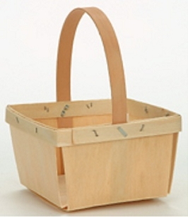 1 Quart Square Berry Basket with Handle