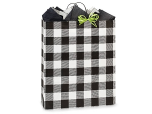 Black Buffalo Plaid Gift Bag - Queen