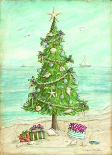 Beach Christmas Tree Boxed Cards