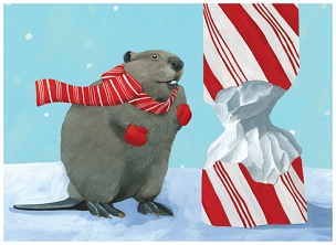 Beaver Candy Cane Boxed Cards