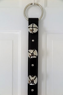 Black Leather Strap - 6 Nickel Sleigh Bells