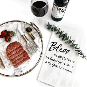 BLESS US: FOOD FAMILY LOVE TEA TOWEL
