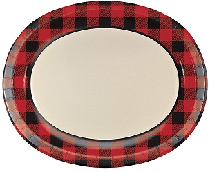 Buffalo Plaid Oval Paper Plates