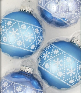 Alpine Shine Snowflake Knit Glass Ornaments