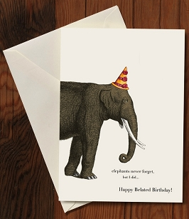 Belated Birthday Card-Elephant
