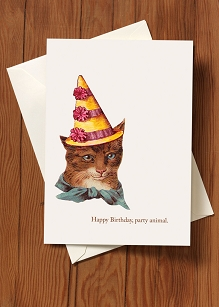Birthday Card-Party Animal Cat