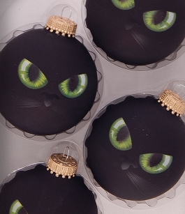 Cat Eyes Halloween Glass Ornament